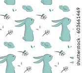 childish pattern with cute... | Shutterstock .eps vector #603661469