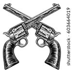 a pair of crossed gun revolver... | Shutterstock .eps vector #603664019