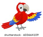 cartoon red parrot bird... | Shutterstock .eps vector #603664109