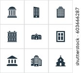 set of 9 simple architecture... | Shutterstock . vector #603666287
