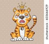 cute cartoon tiger. cartoon... | Shutterstock .eps vector #603666929