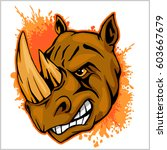 rhino athletic design complete... | Shutterstock .eps vector #603667679