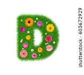 letter d made of grass and...