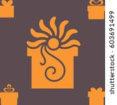 orange gift box with a bow or... | Shutterstock .eps vector #603691499