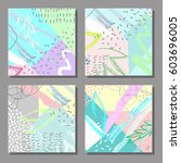 set of artistic colorful... | Shutterstock .eps vector #603696005