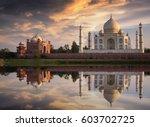 taj mahal india at sunset with... | Shutterstock . vector #603702725