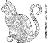 coloring book page with floral...   Shutterstock .eps vector #603703349