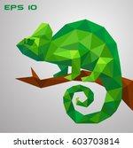a green chameleon is sitting on ... | Shutterstock .eps vector #603703814