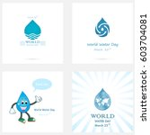 set of water drop icon vector... | Shutterstock .eps vector #603704081