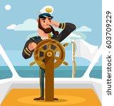 smiling happy captain character ... | Shutterstock .eps vector #603709229