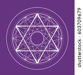 purple sacred geometry symbol.... | Shutterstock .eps vector #603709679
