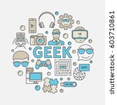 geek round colorful... | Shutterstock .eps vector #603710861