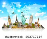 famous landmarks of the world... | Shutterstock . vector #603717119