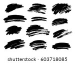 set of black paint  ink brush... | Shutterstock .eps vector #603718085