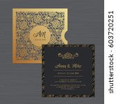 wedding invitation or greeting... | Shutterstock .eps vector #603720251