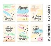 set of artistic creative spring ... | Shutterstock .eps vector #603720659