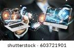 businessman on blurred... | Shutterstock . vector #603721901