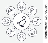 smiling icons set. set of 9... | Shutterstock .eps vector #603727304