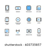 mobile device components vector ... | Shutterstock .eps vector #603735857