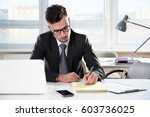 businessman working with... | Shutterstock . vector #603736025