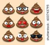 set of cute poop  happy poop ... | Shutterstock .eps vector #603743795