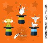 circus. beautiful set of hat...   Shutterstock .eps vector #603743885