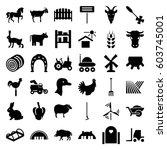 farm icons set. set of 36 farm... | Shutterstock .eps vector #603745001