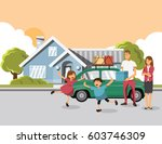 family carrying boxes into new... | Shutterstock .eps vector #603746309