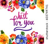 wildflower primula flower frame ... | Shutterstock . vector #603749741