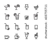 drink line icon set | Shutterstock .eps vector #603755711