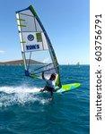 windsurfing in alacati  cesme ... | Shutterstock . vector #603756791