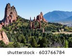 balanced rock at garden of the... | Shutterstock . vector #603766784