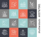 vector set of line icons with...   Shutterstock .eps vector #603767081