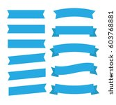 flat ribbons banners flat... | Shutterstock . vector #603768881