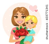 happy mother with her child... | Shutterstock .eps vector #603771341