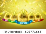 group of eggs in gold color for ... | Shutterstock .eps vector #603771665