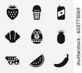 food icon. set of 9 food filled ... | Shutterstock .eps vector #603773069
