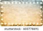 vintage film strip frame on old ... | Shutterstock . vector #603778691