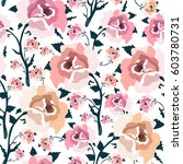 pattern with colorful rose... | Shutterstock .eps vector #603780731