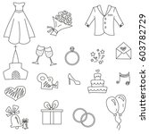 wedding icons | Shutterstock .eps vector #603782729