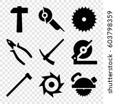 set of 9 carpentry filled icons ... | Shutterstock .eps vector #603798359