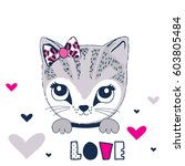 Stock vector cute cat cartoon love card with cat t shirt graphics for kids vector illustration 603805484