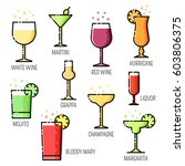 set of alcohol drinks and... | Shutterstock .eps vector #603806375
