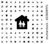 family house icon illustration... | Shutterstock .eps vector #603808991