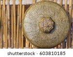 handmade bamboo basket on... | Shutterstock . vector #603810185