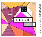 trendy vector summer cards... | Shutterstock .eps vector #603816149