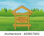 wood sign for your text in... | Shutterstock .eps vector #603817601