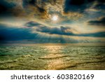 clear blue ocean with countless ... | Shutterstock . vector #603820169