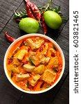 top view  delicious goan fish... | Shutterstock . vector #603821465