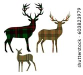 deer family with fawn  on... | Shutterstock .eps vector #603823979